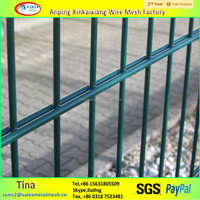 galvanized welded wire mesh fence, iron rod double wire mesh fence