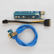 VER 008C PCI-E Riser 16x to 1x Powered Adapter Molex Card 60cm USB 3.0 Extension Cable & 6-Pin PCI-E to SATA Power