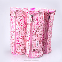 Cute large capacity cylindrical pen case tower nylon pencil case