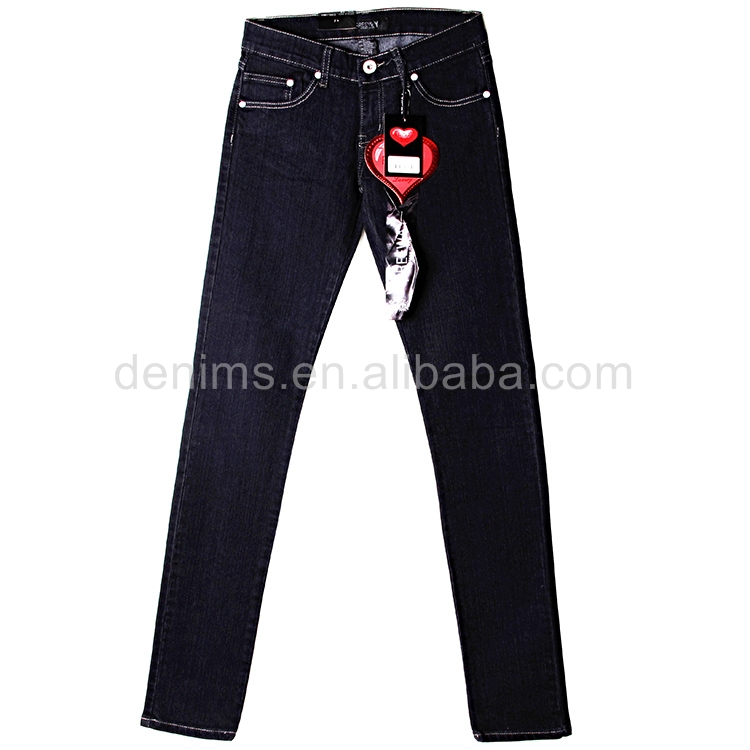 CWL-1821-J2 Blue color enzyme wash 66% cotton Female jeans mid waist sknniy denim jean