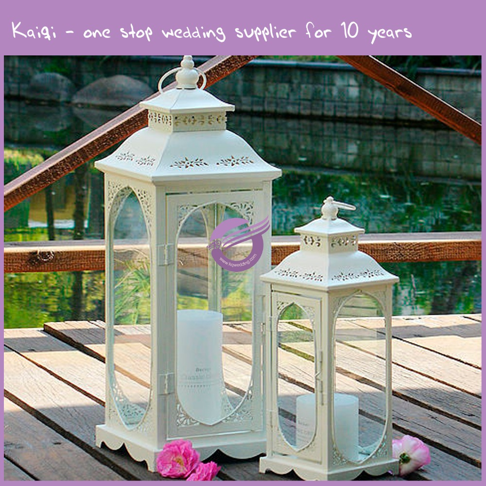 k9172 2016 New Style White Square Hurricane Candle Lantern For Garden Decoration