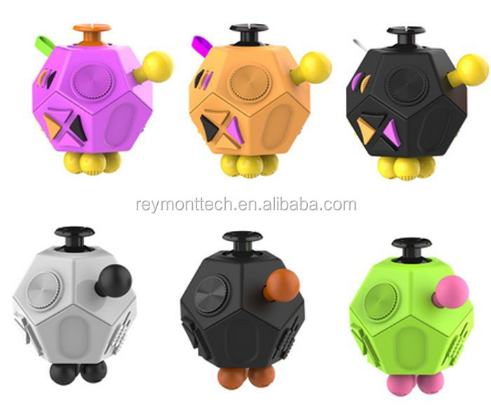 2017 new trending hot selling 12 sides fidget cube toys for kids