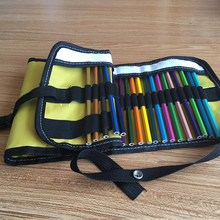 Fashion Roll Up Canvas Pencil Bag with Buckles
