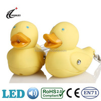High Sales Plastic Rubber duck keychains with LED sound key ring