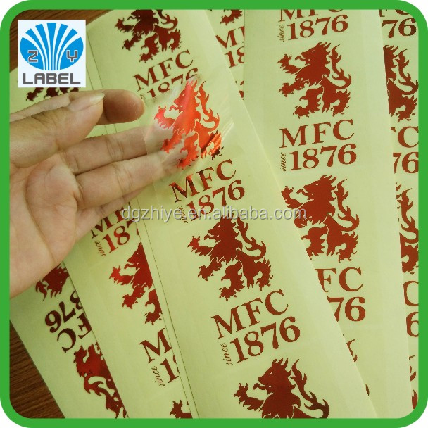 Custom red hot stamping label gold foil sticker with clear vinyl