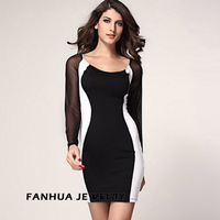 White Black Polyester Patchwork Knee-Length Sheath Sexy Woman's Dress Full Lace Sleeve New Designer Clothing