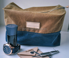 Essential Wax Cotton Canvas Dopp Kit Travel Wash Bag, Toiletry Bag, Shaving Bag