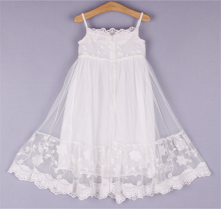 BL186A 2017 children clothes girls beautiful harness lace dress white teenager kids dress