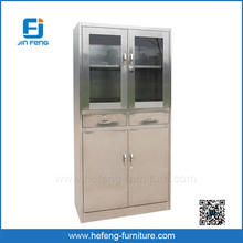 KD Stainless Steel Office Cabinet with Glass Door and Drawers