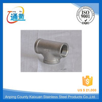 feamle threaded stainless steel tee t connector pipe