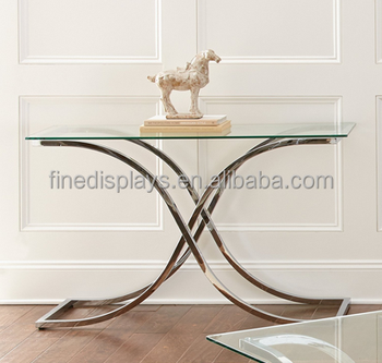 Leonardo Sofa Table in 10 mm tempered glass with polished edge And Chrome-plated Metal Base(B-0279)