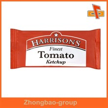 moisture proof aseptic plastic 3 side seal food packaging sachet with printing for ketchup, sauce, oil, flavouring, water