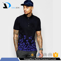 Daijun oem mens new design 180g 100% cotton sublimation printing black sport polo shirt