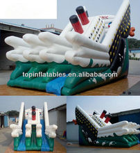 Guangzhou TOP inflatables boat shape water bounce slide inflatable double lines water slide