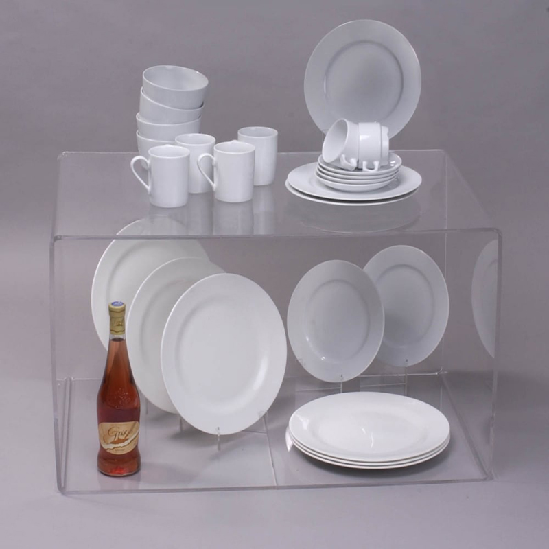 Perspex clear acrylic 50cm coffee table plate display storage box tables