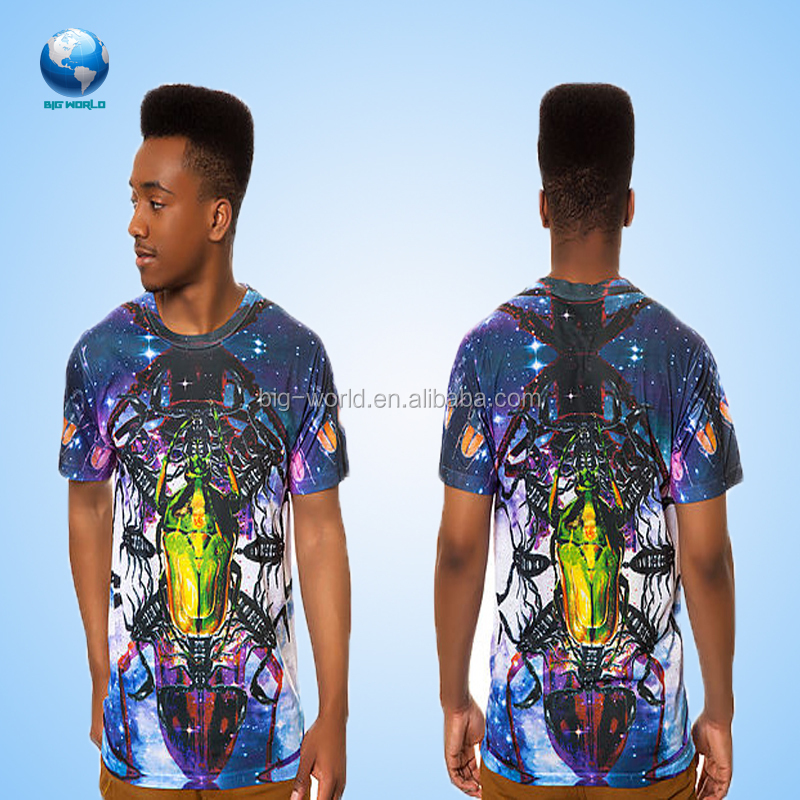 Big World OEM service, High quality design men clothing all over 3d sublimation printing t-shirt