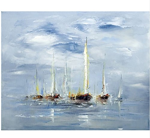 Hand Painted Modern Abstract Wall Art Picture Handpainted the Boat in the Sea Sailling Oil Painting For living Room