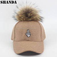 fashion fur ball wool custom emroidery baseball cap