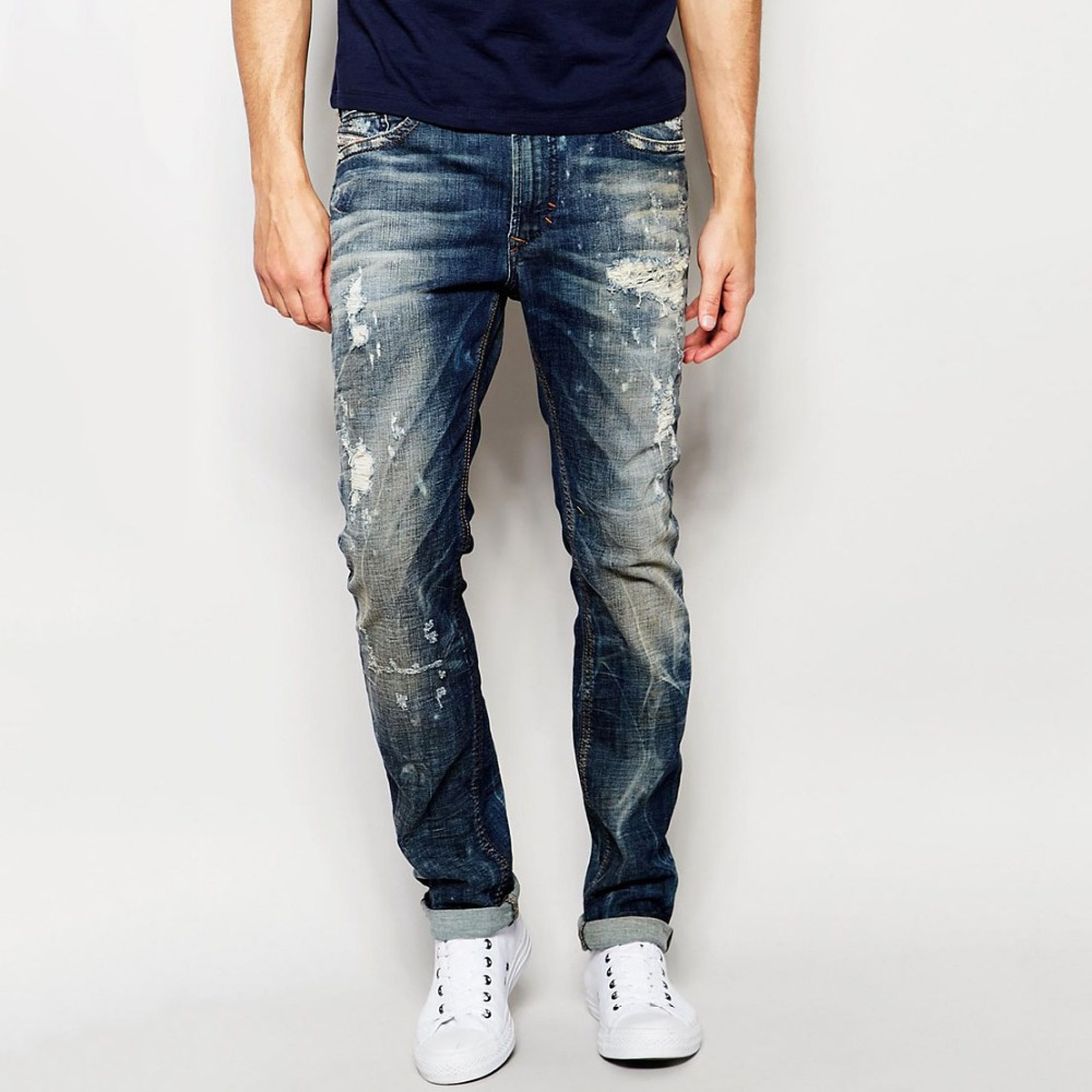 new model jeans pants ripped hip-hop stylish jeans casual wear for men