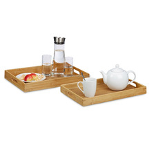 Bamboo Serving Tray Set with Raised Edges and Handle Cut-Outs
