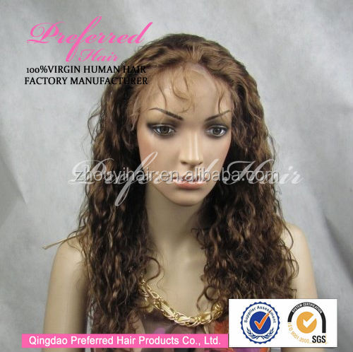 Long short jerry curl blonde color brazilian hair full lace wig with baby hair