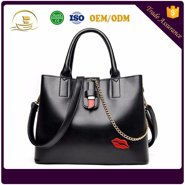 Manufacturers china fashion lip ladies' PU leather handbag women handbags guangzhou