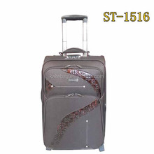 With button trolley 1800D damas fabric PU conbination 2 rubber wheels travel case