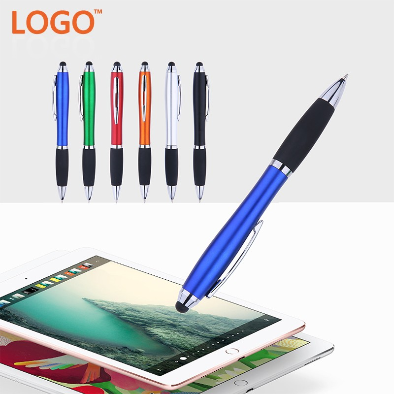 Promotional Gift Customized logo printed Plastic Aluminum Clip multifunction pen Capacitive screen touch stylus pen