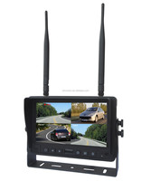 100% Manufacturer CE RoHS 400 cd/m2 DC10-32V 2.4GHz Digital Wireless 4 Channel 7 Inch Quad Display Rear View Car Monitor