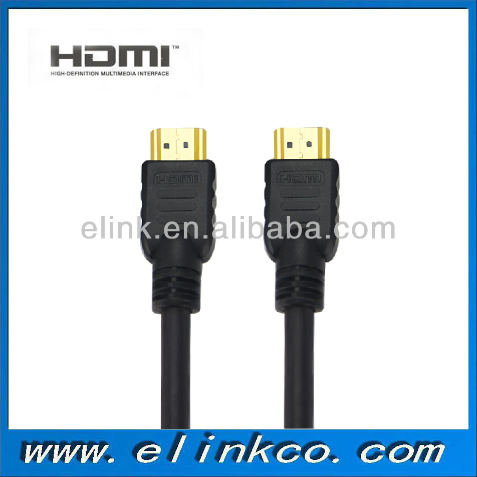 High speed black gold plated cabo hdmi for HDTV Xbox PS3 supporting 3d 1080p ethernet