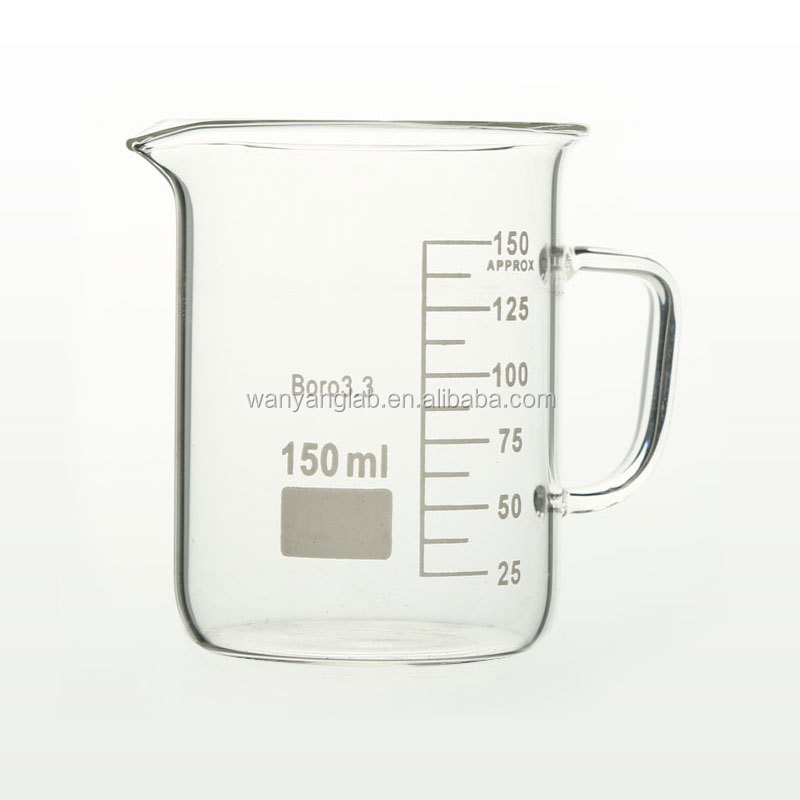 WANYANG laboratory Pyrex glass beaker cup with handle