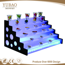 Colorful luxury buffet supplies led acrylic display, acrylic floor display stand, 5 tier acrylic wedding cake stand