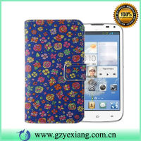 Cell Phone Fancy Leather Cover For Huawei G610 Floral Design Case