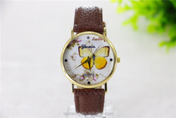 Made from china women genuine leather quartz watch