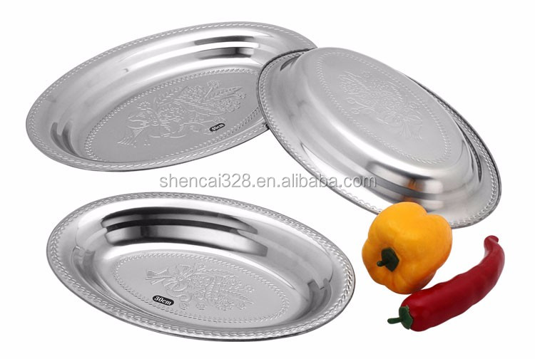 Wholesale thai style fish shaped serving dish / stainless steel food plate / stainless steel dinner plate & dishes