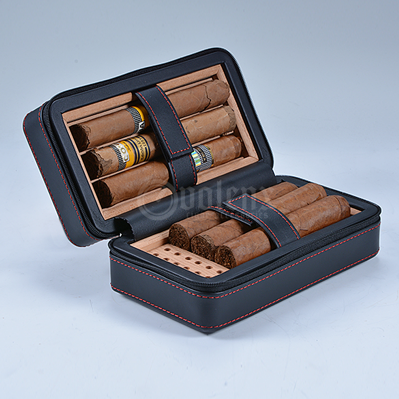 Black Leather humidor Case Traveling Portable Cigar Case Humidor