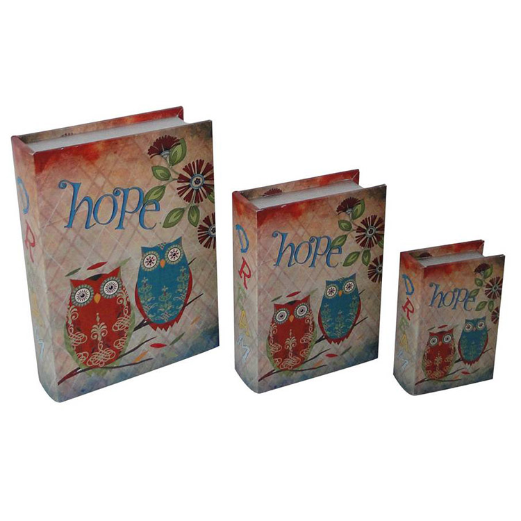 Owl pattern handmade MDF packaging boxes for book