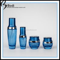 new style cosmetic glass bottle with pump and dropper 30ml 20ml blue bottle