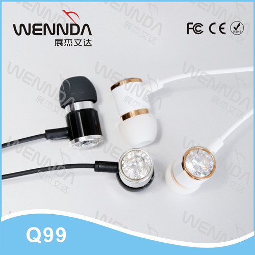 Metal earphone with microphone diamond earphone in ear earphone Wennda Q99