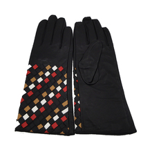 2017 Latest design colorful weave cuff new fashion leather gloves