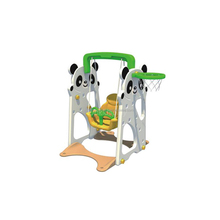 Classic indoor kids toys playground equipment with plastic swing and slide set for sale