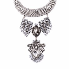 Bohemian Jewelry ancient Zinc Alloy Choker Coin Collar Necklaces Women exaggerated Tassels