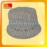 women's stripe cotton twill fashion bucket hat with round silver studs on hat band