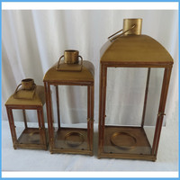 Set of 3 Brown Iron Basilica Style Pillar Candle Holder Lanterns 21