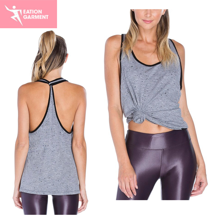 Fashionable Women's Grey Smooth And Sleeveless GYM training Yoga Top for women