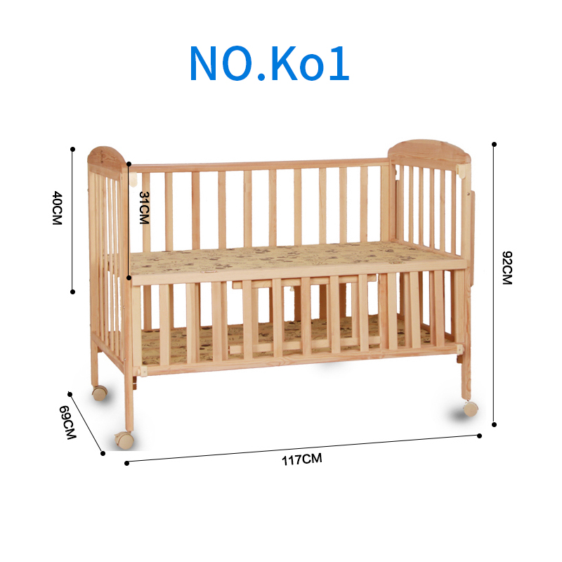 Baby Bedding Solid Wooden Crib Baby Bed Cot with Wheels and Mosquito