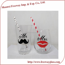 Hot sale elegant stemless glass red wine glasses with fashion decal