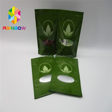 Stand up zipper top dry food packing pouches / window plastic food packaging bags with zip lock