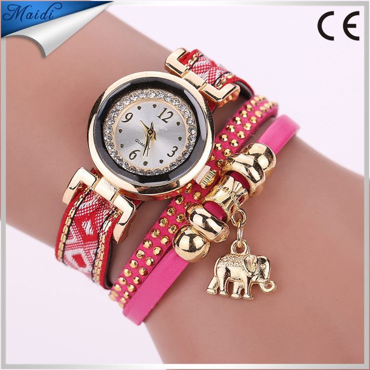 Popular Brand Watch Women 2017 Gold Elephant Pendant Luxury Bracelet Watch Lucky Female Girl Casual Electronic WW058