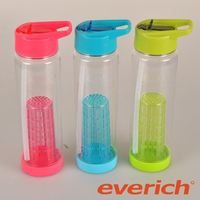 high quality customized color bpa free glass water bottle with fruit infuser